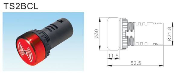 首页 产品展示 按钮开关 控制按钮  ■蜂鸣器指示灯装配尺寸 ●蜂鸣器